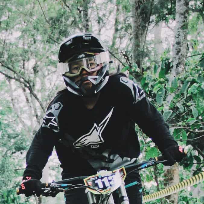 Robert Gibbons riding mountain bike